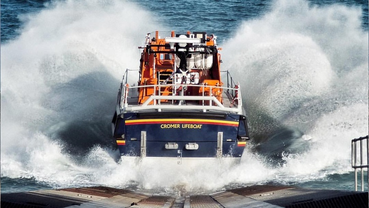Cromer Lifeboat plunging into the sea down her ramp