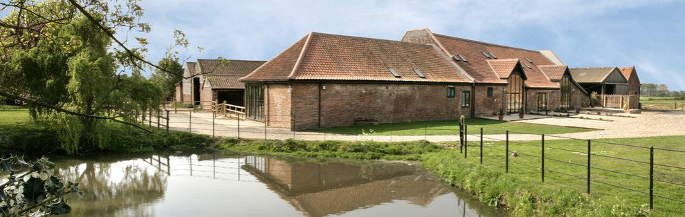 The pond at Wheatacre Hall Barns on the Norfolk Suffolk border