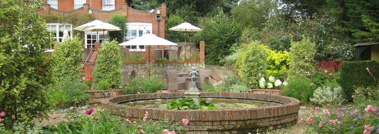 Garden area at Roman Camp Inn in Aylmerton North Norfolk