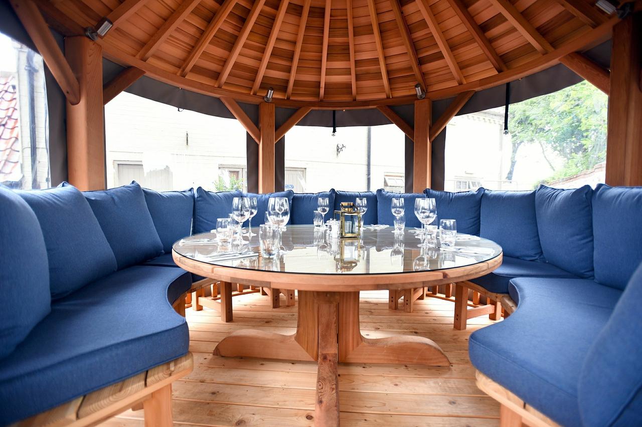 Pavilions Al Fresco eating area for The Lifeboat Inn Thornham in Norfolk